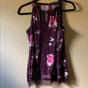 Whbm wine floral top